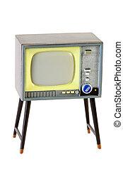 pequeno, retro, plástico, televisão, isolado, branco, fundo