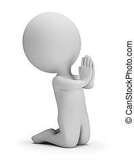 pequeno, rezar, 3d, -, pessoas