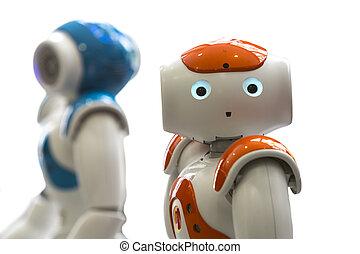 pequeno, robôs, com, rosto humano, e, body., ai