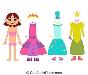 pequeno, roupas, princesas