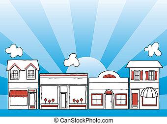 pequeno, rua principal, negócio