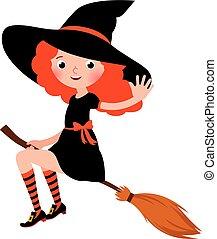 pequeno, ruivo, cabo vassoura, dia das bruxas, excitado, ...