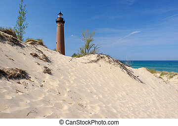 pequeno, sable, ponto, farol, em, dunas, incorporado, 1867