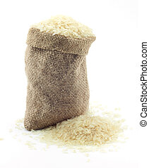 pequeno, saco, arroz