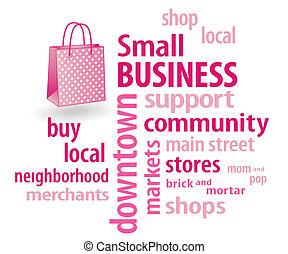pequeno, saco, shopping, negócio