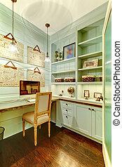 pequeno, sala, -, escritório lar, em, a, closet.