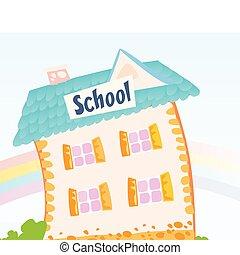 pequeno, schoolhouse, natureza