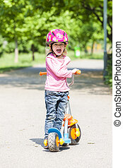 pequeno, scooter, menina
