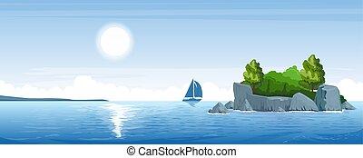 pequeno, seascape, ilha