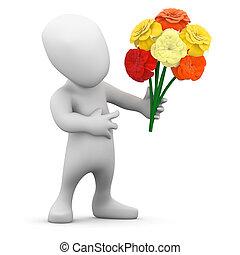 pequeno, segura, 3d, homem, flores, grupo