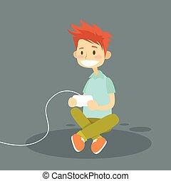 pequeno, segurando, tocando, vídeo, joystick, menino jogo, ...