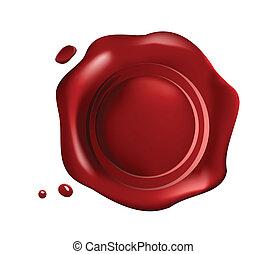 pequeno, selo, vermelho, gotas, cera