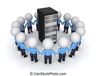 pequeno, server., 3d, ao redor, pessoas