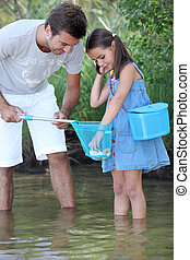 pequeno, seu, pai, pesca, menina