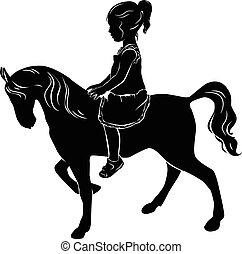 pequeno, silueta, cavalo, menina