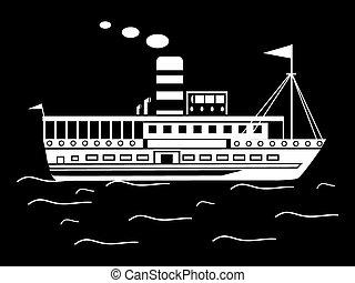pequeno, silueta, retro, navio