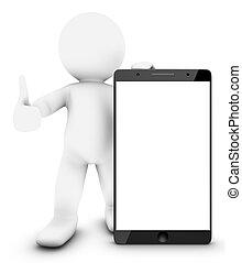 pequeno, smartphone, 3d, homem