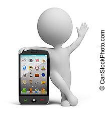 pequeno, smartphone, -, 3d, pessoas