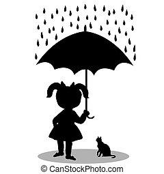pequeno, sob, guarda-chuva, menina, gato