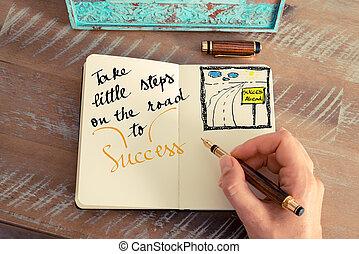 pequeno, sucesso, texto, passos, tomar, estrada