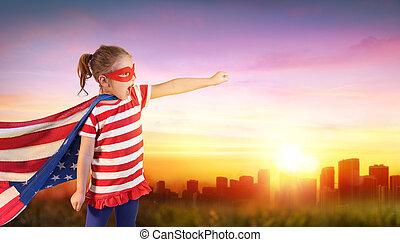 pequeno, superhero, eua, pôr do sol, cityscape, menina