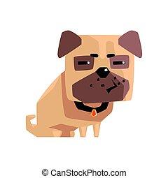 pequeno, suspeito, animal estimação, pug caçam, ilustração, colarinho, filhote cachorro, caricatura, emoji