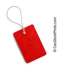 pequeno, tag vermelho
