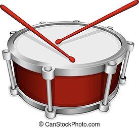 pequeno, tambor, vermelho