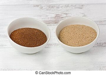 pequeno, teff, tigelas, grãos