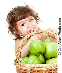 pequeno, tiro, isolado, maçãs verdes, cesta, estúdio, menina, adorável