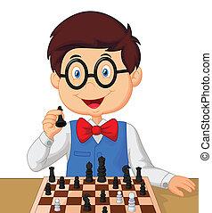 pequeno, tocando, menino, xadrez, caricatura