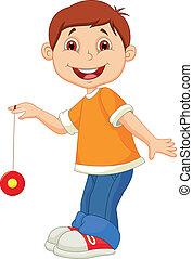 pequeno, tocando, menino, yo, caricatura