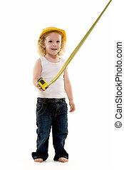 pequeno, trabalhador construção