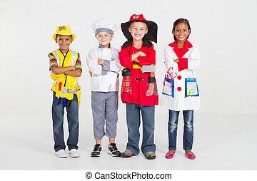 pequeno, trabalhadores, uniforme