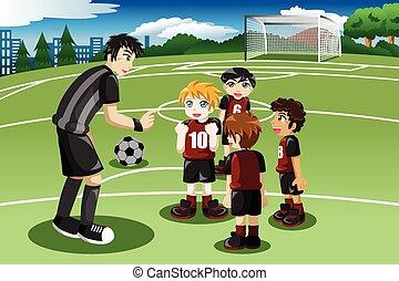 pequeno, treinador, seu, campo, crianças, escutar, futebol