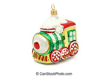 pequeno, trem, árvore natal, brinquedo