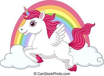 pequeno, unicórnio, asas, arco íris, pônei, nuvens, cute