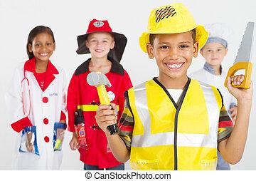 pequeno, uniformes, grupo, trabalhadores