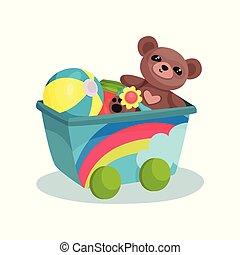 pequeno, vagão, com, arco íris, cheio, de, crianças, toys., urso teddy, bola inflável, flor, e, coloridos, cube., apartamento, vetorial, elemento, para, bandeira, de, crianças, loja