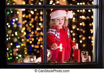 pequeno, velas, jantar, mais claro, menina, natal
