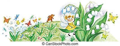 pequeno, vespa, ligado, um, lily-of-the-valley