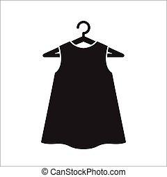 pequeno, vestido, cabide, pretas