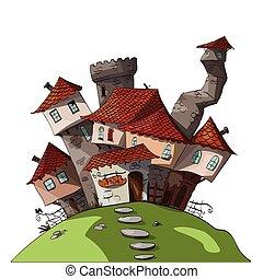 pequeno, vetorial, medieval, /, fantasia, vila