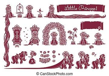 pequeno, vetorial, princesa, cobrança