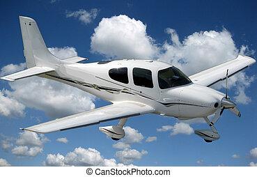 pequeno, voando, avião privado