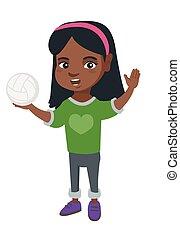 pequeno, voleibol, segurando, africano, menina, ball.
