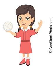 pequeno, voleibol, segurando, menina, caucasiano, ball.