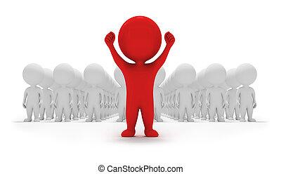 pequeno, voluntários, -, 3d, pessoas