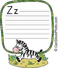 pequeno, zebra, para, abc., alfabeto, z