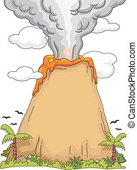 Volcan Exploser Dessin Animé Exploser Illustration Couleur